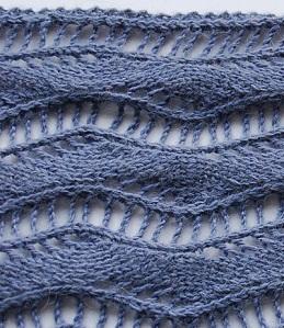 ażurowa wstążka - ścieg na drutach